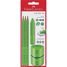 Μολύβια FABER-CASTELL graphic με ξύστρα και γόμα πράσινα (3τεμ.)