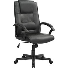 Πολυθρόνα STAMPA γραφείου μαύρη δερμάτινη