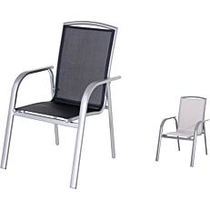 Καρέκλα MIMOSA GARDEN αλουμινίου στοιβαζόμενη με γκρι textilene