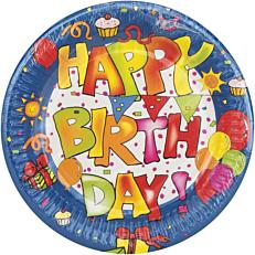 Πιάτα χάρτινα με σχέδιο Happy Birthday 16cm (10τεμ.)