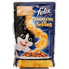 Τροφή FELIX γάτας σε ζελέ με σολομό και γαρίδες (100g)