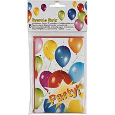 Προσκλήσεις με σχέδιο μπαλόνια (6τεμ.)