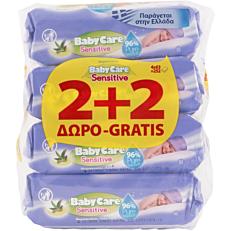 Μωρομάντηλα BABYCARE Sensitive με εκχύλισμα αλόης (4x63τεμ.)