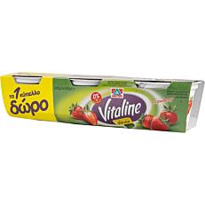 Γιαούρτι επιδόρπιο VITALINE φράουλα με stevia και 0% λιπαρά (3x200g)