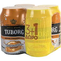 Αναψυκτικό TUBORG σόδα πορτοκάλι-κανέλα (4x330ml)