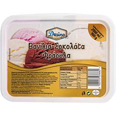 Παγωτό DESINO βανίλια σοκολάτα φράουλα συσκευασία 2lt (900gr)