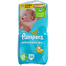 Πάνες PAMPERS active baby-dry No.4, 8-14kg (58τεμ.)