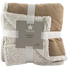 Κουβέρτα YASEMI fleece sherpa καφέ-λευκό 160x220cm