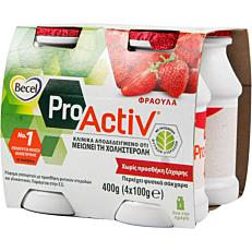 Ρόφημα γάλακτος BECEL Pro Activ με γεύση φράουλα (4x100g)