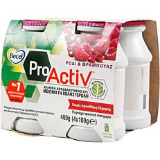 Ρόφημα γάλακτος BECEL Pro Activ με γεύση ρόδι (4x100g)