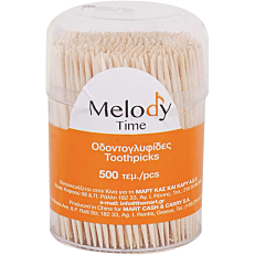Οδοντογλυφίδες MELODY TIME με δυο μύτες, σε μπολ (6x500τεμ.)