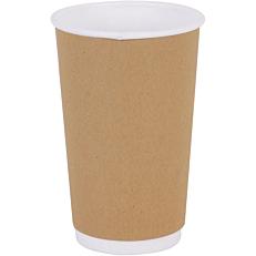 Ποτήρια χάρτινα διπλότοιχα κραφτ 16oz (25τεμ.)