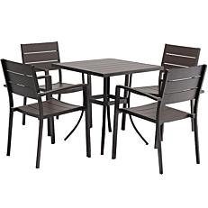 Τραπέζι αλουμινίου ανθρακί 73x73x74