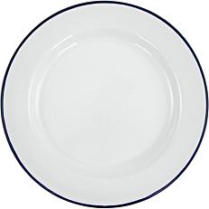 Πιάτο ρηχό εμαγιέ HENDI λευκό με μπλε rim Φ20cm