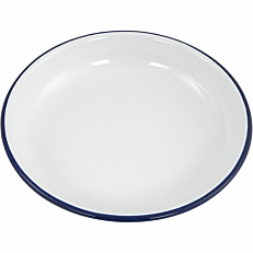 Πιάτο βαθύ εμαγιέ HENDI λευκό με μπλε rim Φ18cm