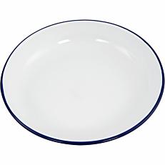 Πιάτο βαθύ εμαγιέ HENDI λευκό με μπλε rim Φ24cm