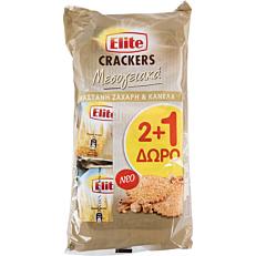 Κράκερ ELITE με ζάχαρη και κανέλα (3x105g)