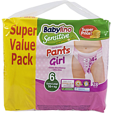 Πάνες BABYLINO Sensitive Pants Girl No.6, 16kg+ (28τεμ.)