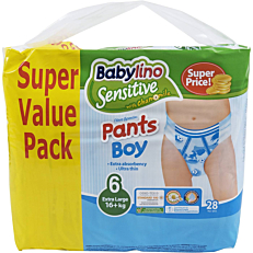 Πάνες BABYLINO Sensitive Pants Boy No.6, 16kg+ (28τεμ.)