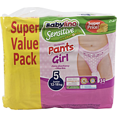 Πάνες BABYLINO Sensitive Pants Girl No.5, 12-18kg (34τεμ.)