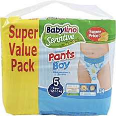Πάνες BABYLINO Sensitive Pants Boy No.5, 12-18kg (34τεμ.)