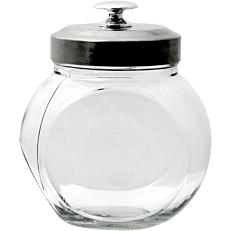 Δοχείο γυάλινο με inox καπάκι 650ml 13x15cm