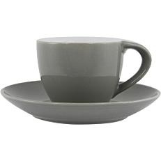 Σετ φλιτζανοπιατάκι stoneware γκρι 8cl