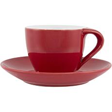 Σετ φλιτζανοπιατάκι stoneware κόκκινο 8cl