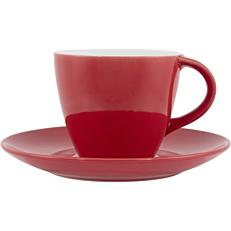 Σετ φλιτζανοπιατάκι stoneware κόκκινο 24cl