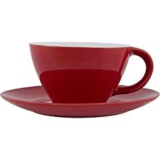 Σετ φλιτζανοπιατάκι stoneware κόκκινο 39cl
