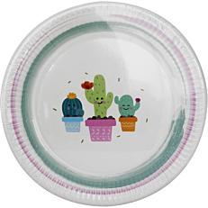 Πιάτα χάρτινα με σχέδιο Cactus 23cm (8τεμ.)