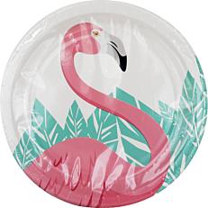 Πιάτα χάρτινα με σχέδιο Flamingo 23cm (8τεμ.)