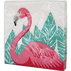 Χαρτοπετσέτες με σχέδιο Flamingo 33x33cm δίφυλλες (20τεμ.)
