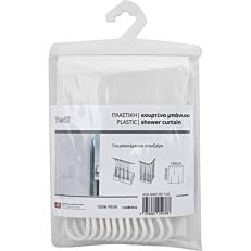 Κουρτίνα μπάνιου Twill πλαστική λευκή 180x200cm