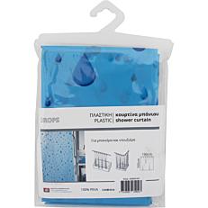 Κουρτίνα μπάνιου Drops πλαστική γαλάζια 180x200cm