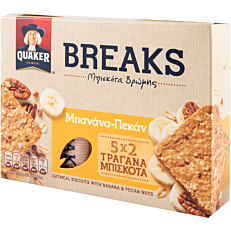 Μπισκότο βρώμης QUAKER breaks με μπανάνα και πεκάν (5x27g)