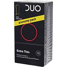 Προφυλακτικά DUO Extra Thin (πολύ λεπτά με επιπλέον λιπαντικό) (18τεμ.)