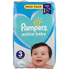Πάνες PAMPERS active baby Maxi Pack No.3 (66τεμ.)