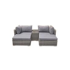 Σετ αλουμινίου rattan με καρέκλα 94x75x65cm, ανάκλινδρο 85x66x32cm και τραπέζι 75x40x50cm με τζάμι 5mm