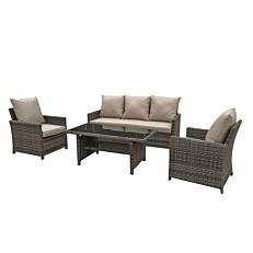Σετ καναπές 3θέσιος 167,5x71x76cm, 2 πολυθρόνες 64,5x71x76cm και ένα τραπέζι τύπου rattan 120x60x50cm
