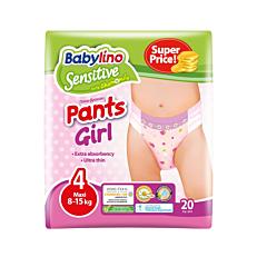 Πάνες BABYLINO Sensitive Pants Girl No.4, 8-15kg (20τεμ.)