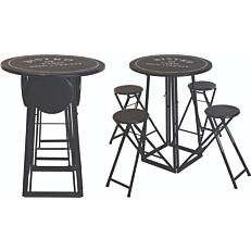 Σετ εξοχής τραπέζι μπαρ και τέσσερις καρέκλες μεταλλικό με μαξιλάρια