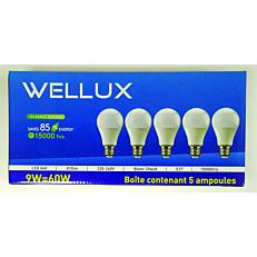Λάμπα WELLUX LED 9W A60 E27 σετ (5τεμ.)