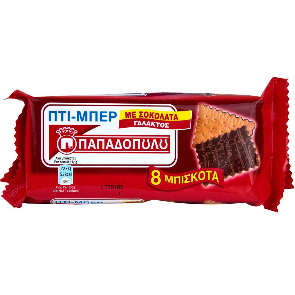 6c675a75111 Μπισκότα ΠΑΠΑΔΟΠΟΥΛΟΥ ΠΤΙ ΜΠΕΡ με σοκολάτα γάλακτος (89g) | The Mart