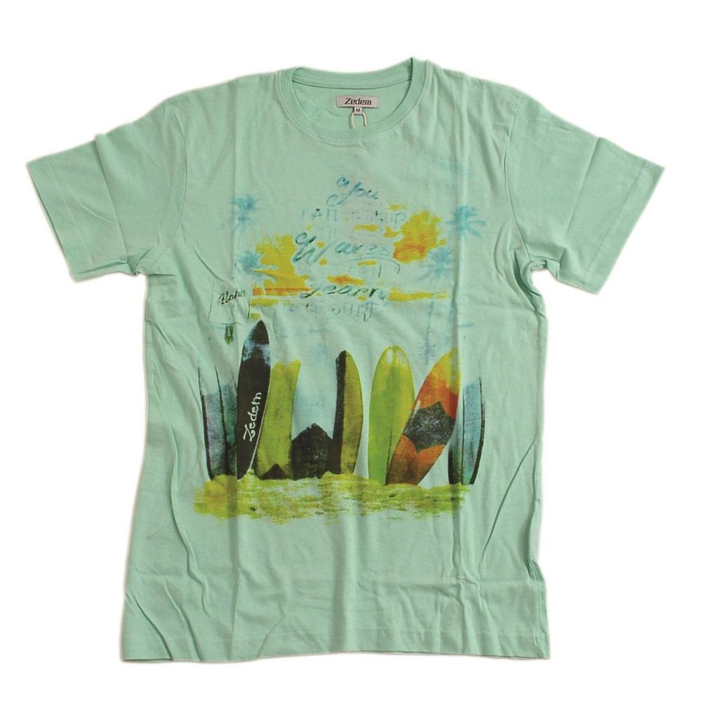 e987ceb8afb3 T-Shirt ZEDEM ανδρικό κοντομάνικο με στάμπα πράσινο